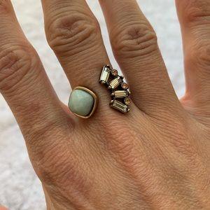 Blue & Diamond Deco Gold Cuff Ring